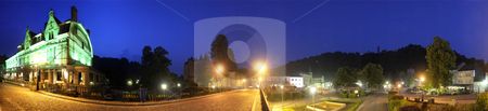 Durbuy by Night stock photo, The panoramic overview of the Durbuy City Center in Belgium at night by Corepics VOF