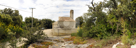 12th Century Church stock photo, A panoramic image of the ruins of a 12th Century Church in the Drome en Provence, France. by Corepics VOF
