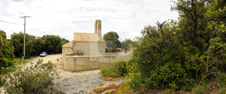 21th Century Chapel stock photo, The ruins of a 21th Century Chapel in the Drome en Provence region, France on an overcast day by Corepics VOF