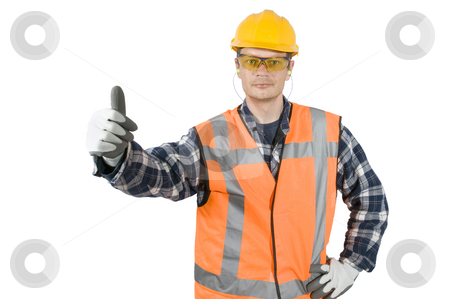 Good practise stock photo, A construction worker, wearing the proper safety garments, giving a thumbs-up, showing good practise. Clipping path included by Corepics VOF