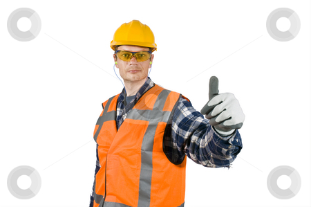 Good practise  stock photo, A construction worker, wearing the proper safety precautions, giving a thumbs-up, showing good practise. by Corepics VOF
