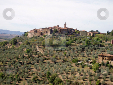 Tuscan village stock photo, Tuscan village on a hill in the distance by Jaime Pharr