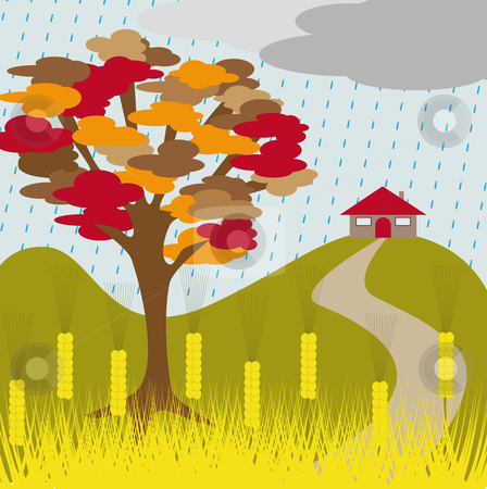 Autumn tree rain and wheat stock vector clipart, Autumn tree and house on a hill with wheat and rain by Karin Claus