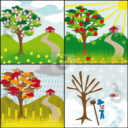 Four seasons on a hill stock vector clipart, Four seasons tree on a hill with a house by Karin Claus