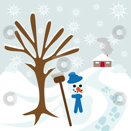 Snow tree hill and house stock vector clipart, Snow tree hill and house with snowman and some footsteps by Karin Claus