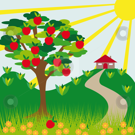 Apple tree hill and house stock vector clipart, Apple tree hill and house on a sunny day by Karin Claus