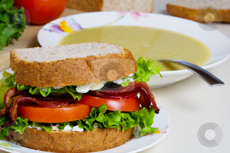 Soup and sandwich stock photo, A BLT sandwich and a bowl of split pea soup by Steve Mcsweeny