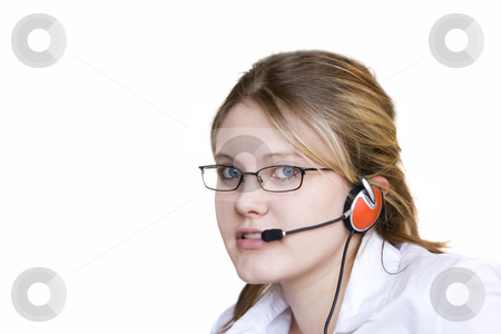 Young assistant stock photo, Young woman  with head set taking your calls by Steve Mcsweeny