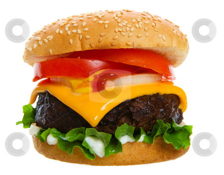 Juicy burger stock photo, Big and Juicy cheese burger on a white background by Steve Mcsweeny