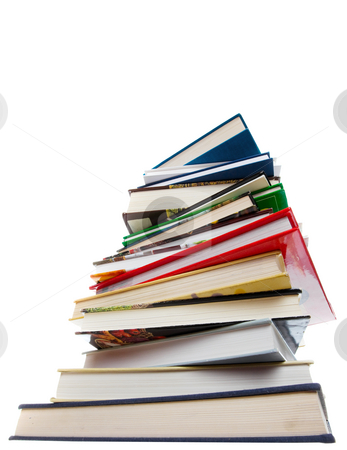 School books stock photo, A stack of books on a white background by Steve Mcsweeny