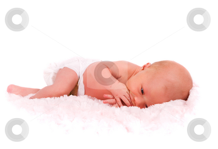 Newborn stock photo, A newborn baby in diapers sucking on her fingers by Steve Mcsweeny