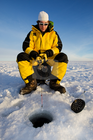 Fishing stock photo, Fisherman enjoying a day on the ice by Steve Mcsweeny