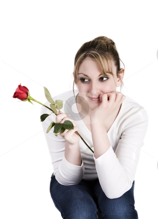 Rose teenager stock photo, A teenager holding a rose with white background by Steve Mcsweeny