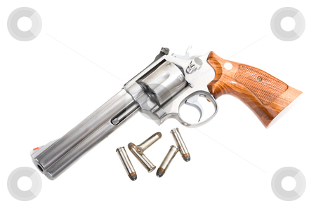 Magnum revolver stock photo, A 357 magnum revolver with bullets isolated on white by Steve Mcsweeny