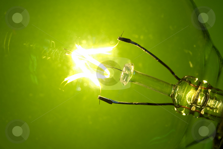 Green glow stock photo, Macro light bulb glowing on a green background by Steve Mcsweeny