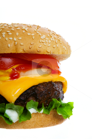Burger on white stock photo, A large cheese burger on a white background by Steve Mcsweeny