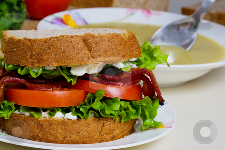 Sandwich with soup stock photo, A BLT sandwich and a bowl of split pea soup by Steve Mcsweeny