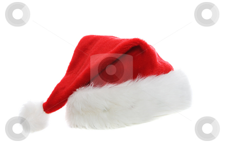 Santa cap stock photo, A santa hat on a white background by Steve Mcsweeny