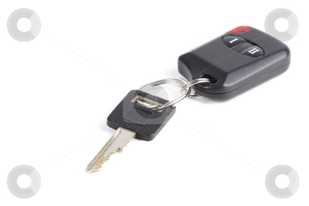Remote start stock photo, A warn car key and remote on white with shadows by Steve Mcsweeny