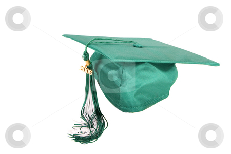 Graduation cap stock photo, Green graduation cap isolated on a white background by Steve Mcsweeny