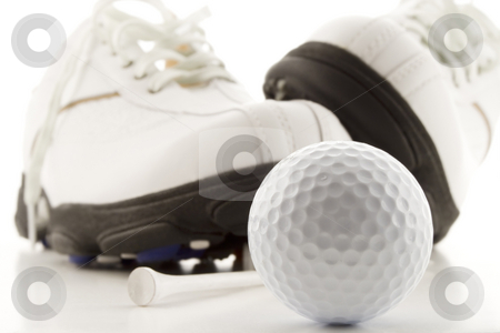 Golf time stock photo, Golf ball with shoes and tee by Steve Mcsweeny