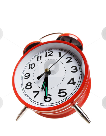 Red alarm clock stock photo, Large red alarm clock with low angle view by Steve Mcsweeny