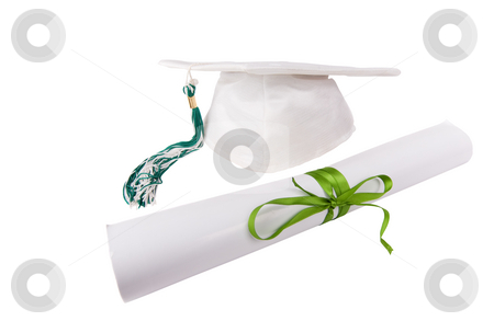 Cap and diploma stock photo, Graduation cap and diploma isolated on white by Steve Mcsweeny