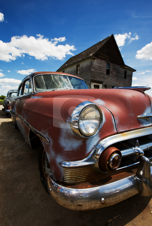 Vintage cars stock photo, Old vintage cars left to rust in a ghost town by Steve Mcsweeny