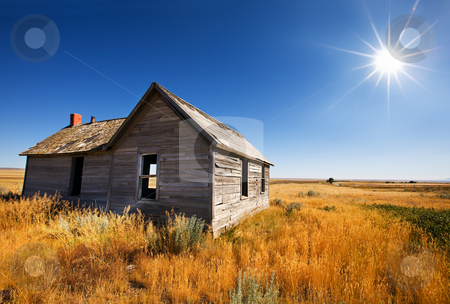 Abandoned home stock photo, Old wooden home abandoned in the grasslands by Steve Mcsweeny