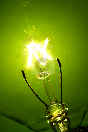 light bulb glow stock photo, Light bulb glowing on a green background by Steve Mcsweeny