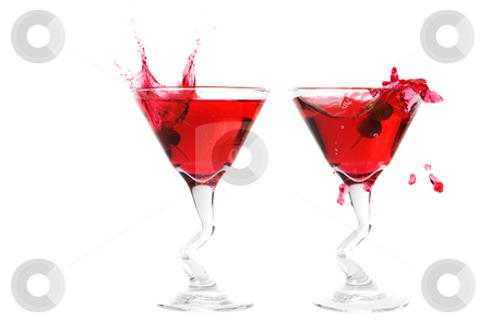 Double splash stock photo, A double martini olive splash on a white background by Steve Mcsweeny