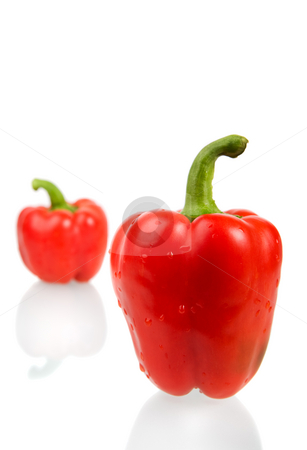 Red bell peppers stock photo, Red bell peppers with water droplets by Steve Mcsweeny