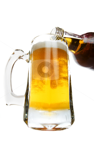 Pint pour stock photo, Pouring a pint of beer on a white background by Steve Mcsweeny