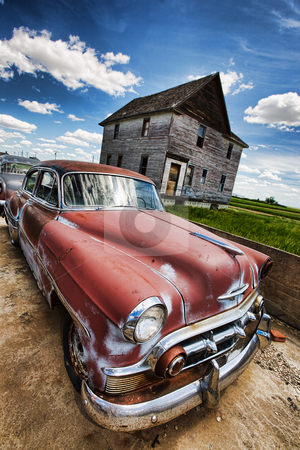 Vintage car stock photo, Old vintage cars left rusting in a ghost town by Steve Mcsweeny
