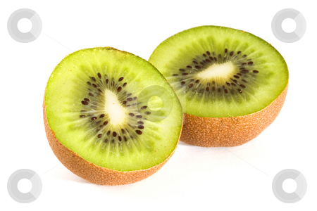 Kiwi slices stock photo, Kiwi fruit slices on a white background by Steve Mcsweeny