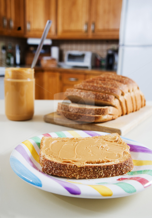 Peanut butter snack stock photo, A peanut butter sandwich in the kitchen by Steve Mcsweeny
