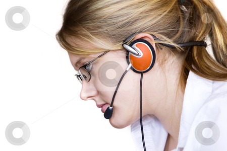 Assistant stock photo, Young woman  with glasses taking your calls by Steve Mcsweeny