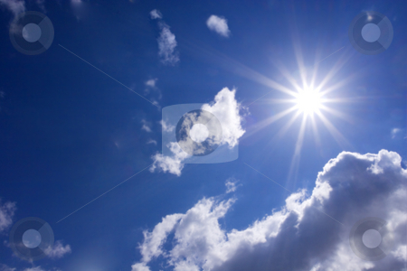 Sun rays stock photo, Bright sun  rays in the clouds by Steve Mcsweeny