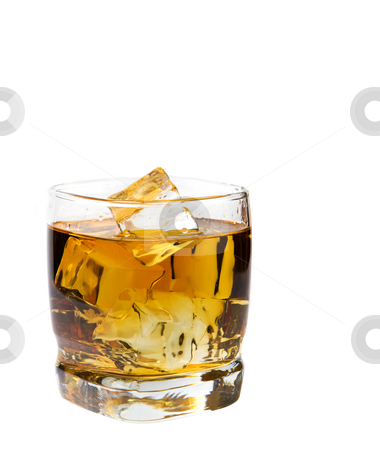 Glass of whiskey stock photo, A glass of whiskey on the rocks by Steve Mcsweeny