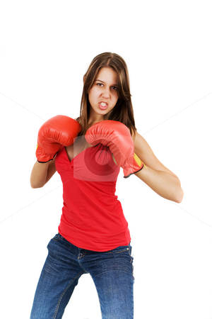 Boxing beauty stock photo, A pretty model with boxing gloves on a white background by Steve Mcsweeny