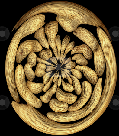 Peanuts swirl stock photo, Peanuts round distortion effect on black background by Francesco Perre