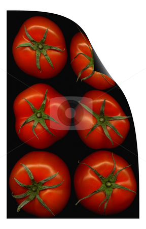 Tomatoes curl distortion stock photo, Fresh tomatoes on black background curl distortion effect by Francesco Perre