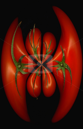 Tomatoes distortion stock photo, Fresh tomatoes on black background round distortion effect by Francesco Perre