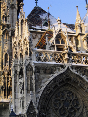 St. Matthias church stock photo, A detail of the facade of St. Matthias church in Budapest by Alessandro Rizzolli