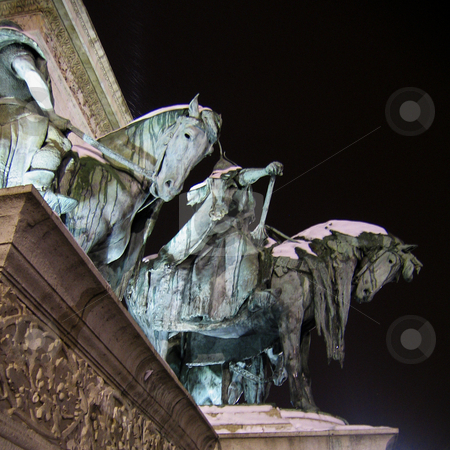 Heroes square in Budapest - Detail of the obelisk basement stock photo, A detail of the statues of the basement of the obelisk of Heroes square in Budapest by Alessandro Rizzolli