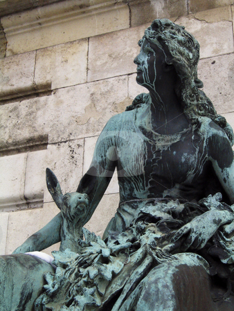 Budapest royal palace - Bronze statue stock photo, A particular of the fountain inside the walls of the royal palace on the Buda hill by Alessandro Rizzolli