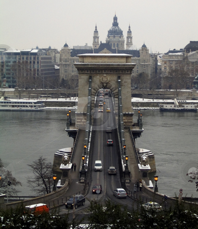 Looking down to the Chains Bridge stock photo, A shot taken from the Buda hill depicting the Chains Bridge by Alessandro Rizzolli