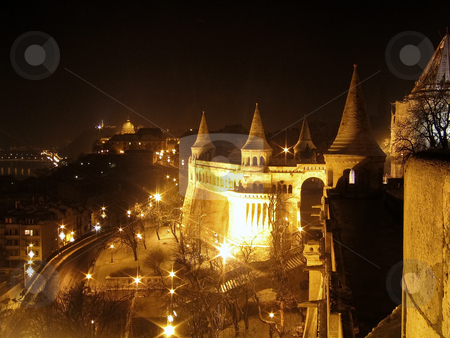 Fishermen's Bastion at night stock photo, Looking down on Budapest from one of the tower of Fishermen's Bastion on the Buda hill by Alessandro Rizzolli