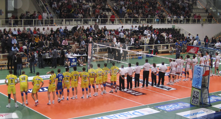 Volleyball: Trentino Volley vs Modena stock photo, Italian Volley Championship: Trentino Volley vs Cimone Modena - The teams in action by Alessandro Rizzolli
