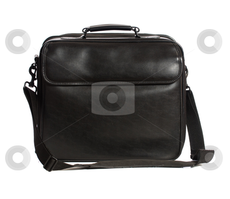 Leather Bag stock photo, A large black colored leather bag used for laptops or other things, isolated against a white background by Richard Nelson